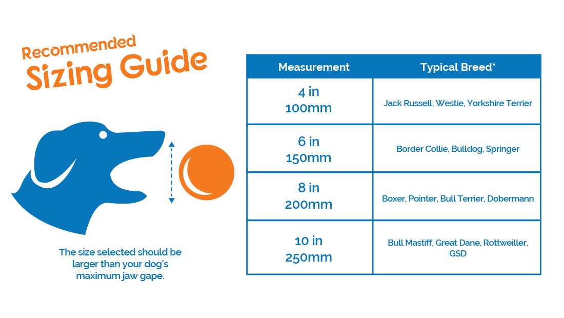 Size guide for Boomer Ball