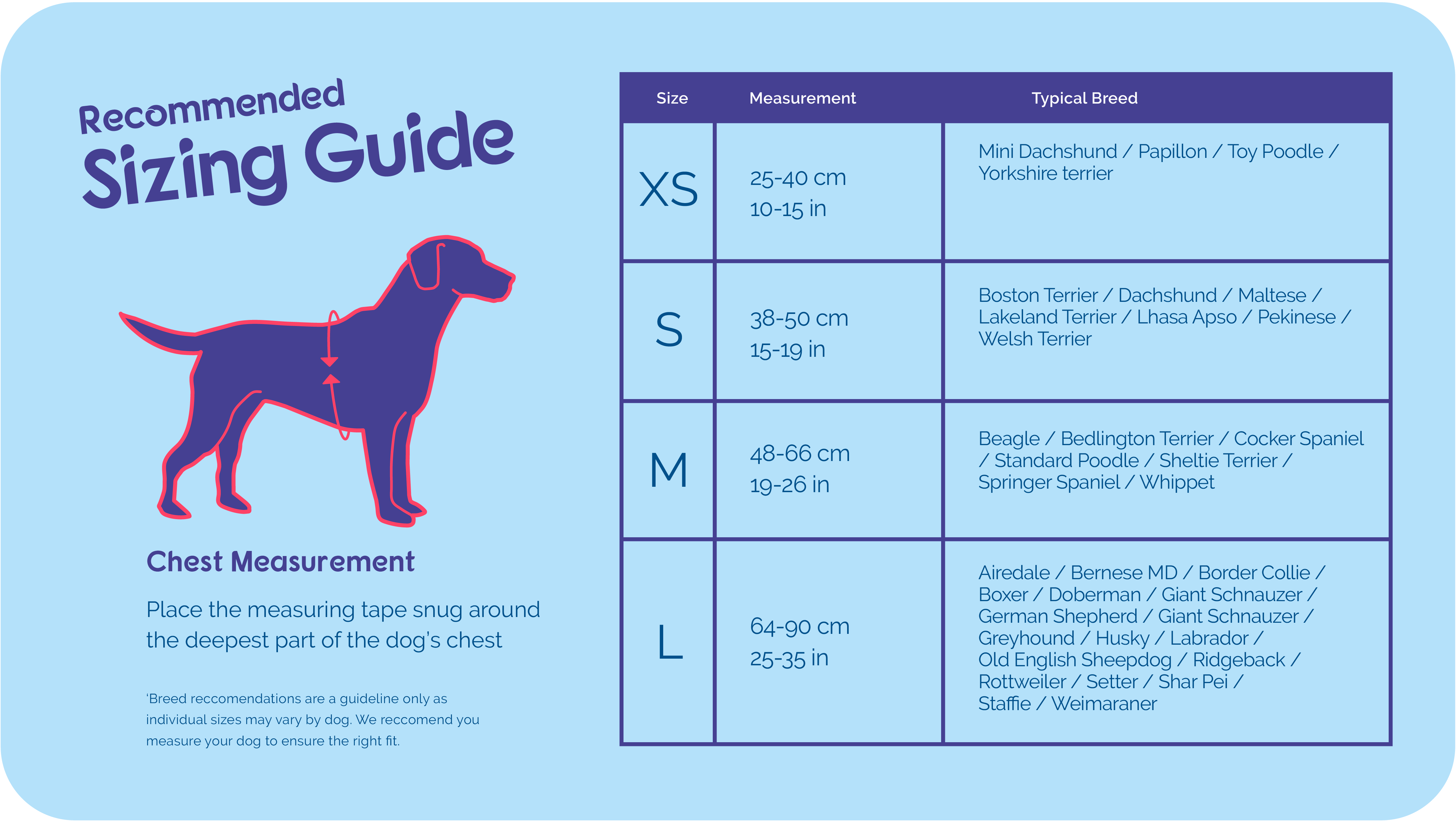 Size guide for Halti Walking Harness