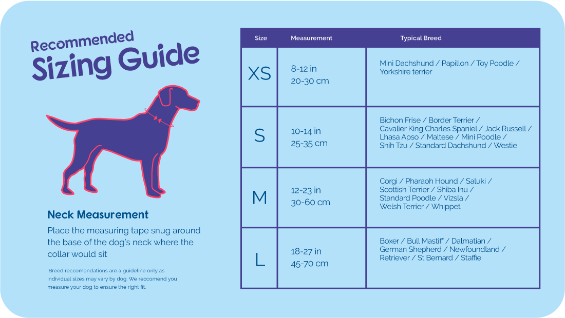 size guide for the Halti Comfort Collar
