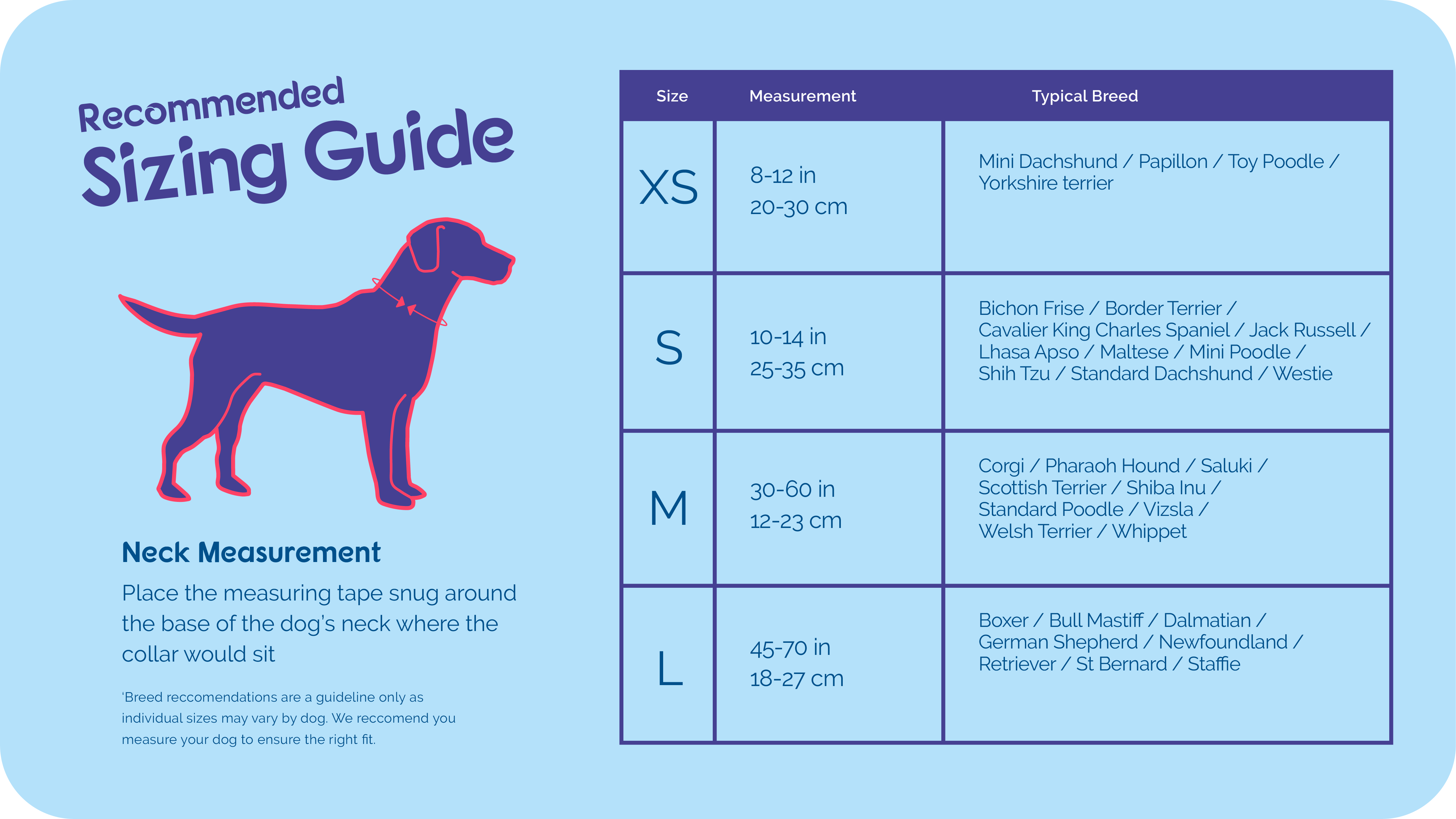 Size guide for Halti Comfort Collar