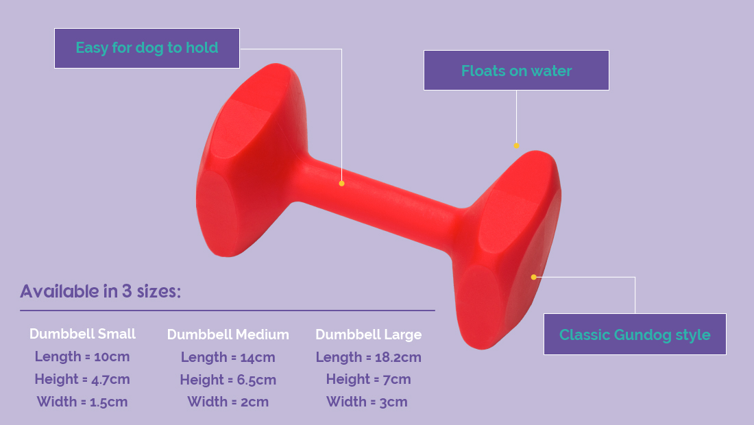 Features and size guide of the Company of Animals Dumbell