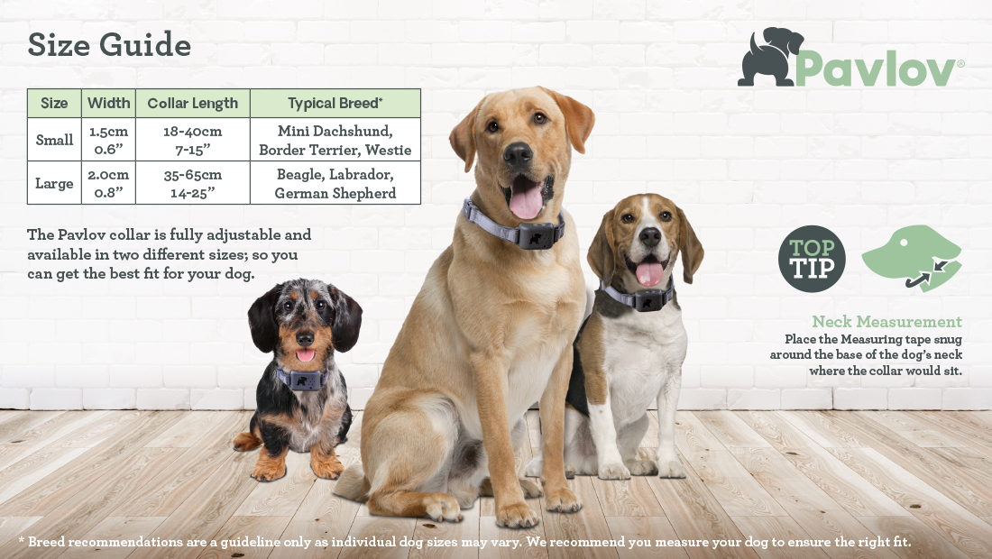 Size Guide for the Pavlov No Bark Collar