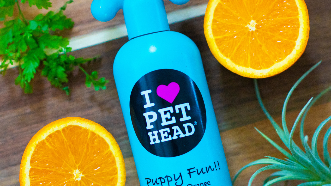 A bottle of Pet Head Puppy Fun